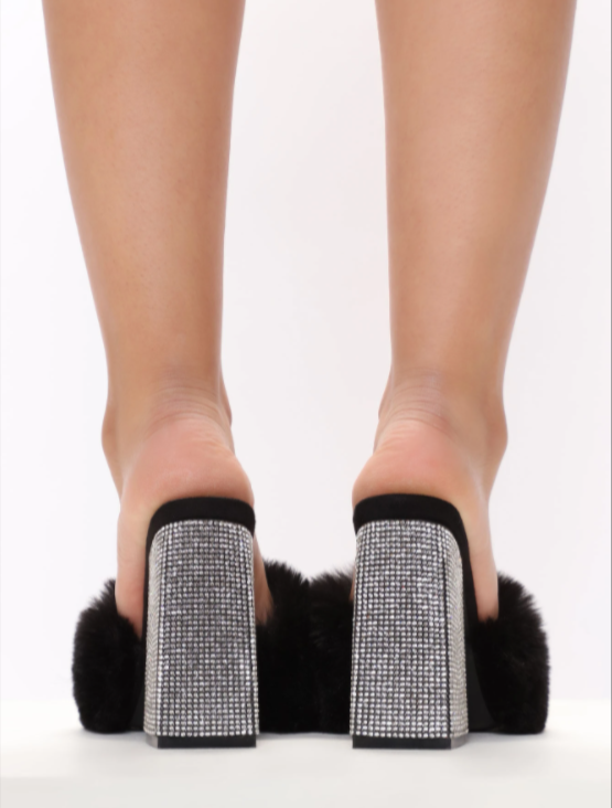 Fur sparkle black heel