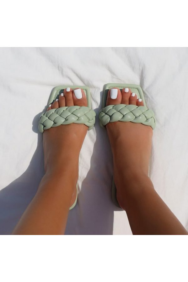 Simi Elsa sage-green slippers