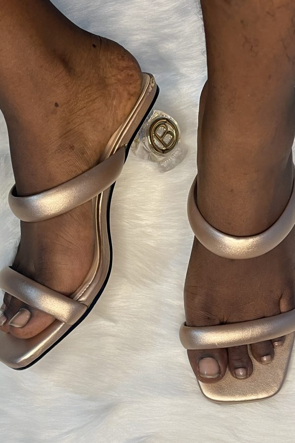 Gold Double Strap B Block Glass Heels